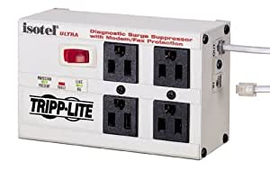 Tripp Lite Isobar 4 Outlet Surge Protector Power Strip, Tel/Modem, 6ft Cord Right Angled Plug, & $50K INSURANCE (ISOTEL4ULTRA)