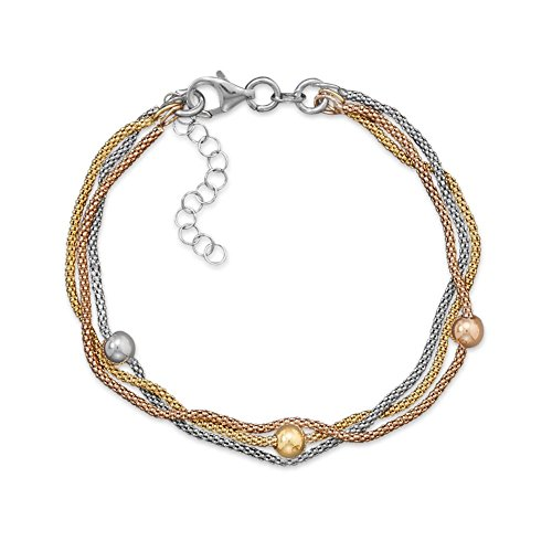 Layered Three Strand Three Tone Gold Silver and Rose Gold Popcorn Chain Bracelet Adjustable Length
