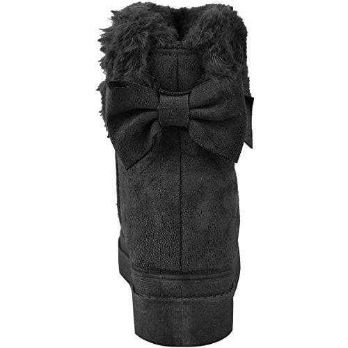 Dames Noir Taille Basse Plat Talons Faux Chaussures En Daim En Arc Bottines Doublure Pour Hiver Faux Femmes Fourrure À TSv5w5