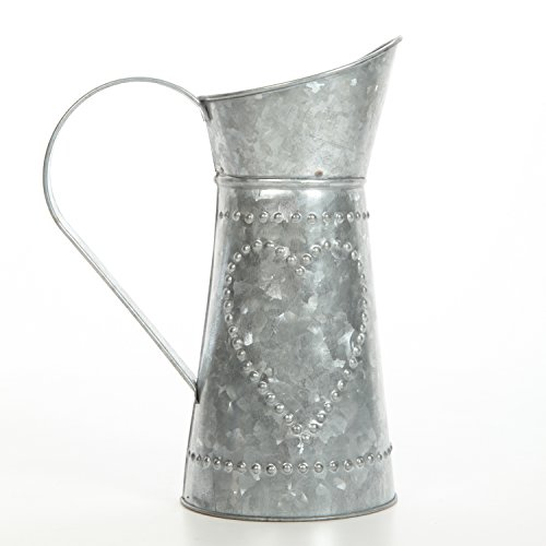 "Hosley 9.25"" High Galvanized Pitcher. Ideal for Home, Wedding, Country Living, Garden Decor. O4, Grey"