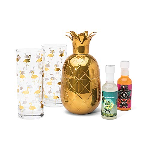 - Thoughtfully Tropical Party Pack Piña Colada Cocktail Gift Set | Includes 2 Highball Glasses, Piña Colada Drink Mix, Mai Tai Cocktail Mix, and a Gold Pineapple Shaker