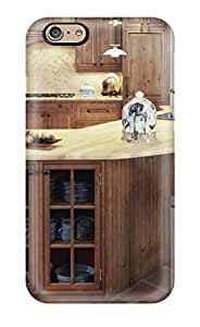 Defender Case For Iphone 6, Raised Wood Open Corner Kitchen With Island Cabinet Pattern