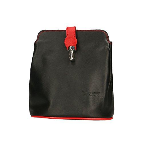 Aren Bolso de cuero auténtico Made in Italy - 21x20x10 Cm Negro Rojo