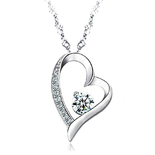 14K White Gold Overlay Sterling Silver Forever Lover Heart Pendant - Jewelry
