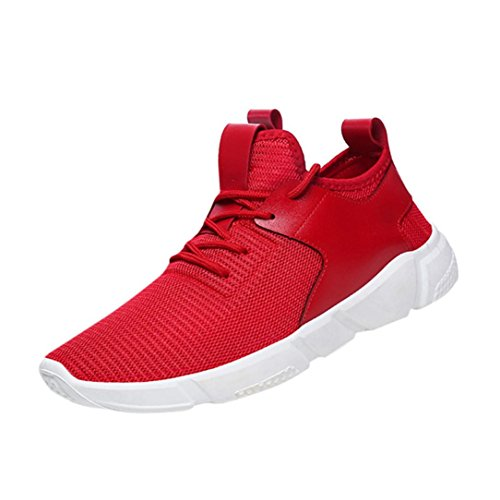 Sky Zapatillas de Deporte de Color Sólido de Los Hombres Zapatos Para Correr Straps Sports Running Casual Sneakers Solid Shoes (41, Rojo)