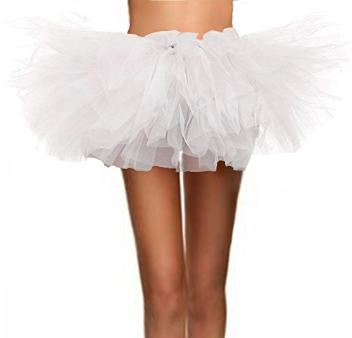T-Crossworld Women's Classic 5 Layered Puffy Mini Tulle Tutu Bubble Ballet Skirt White Plus