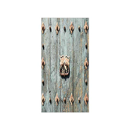 3D Decorative Film Privacy Window Film No Glue,Rustic,European Cathedral with Rusty Old Door Knocker Gothic Medieval Times Spanish Style Decorative,Turquoise,for Home&Office