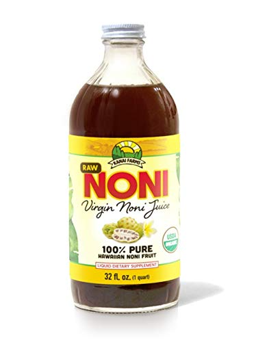 Virgin Noni Juice - RAW 100% Pure Organic Hawaiian Noni Juice - 32oz Glass Bottle