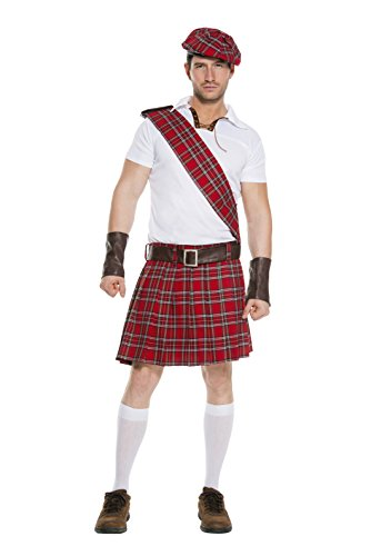 Music Legs Men's Traditional Scottish Man, Red/Black/White, X-Large