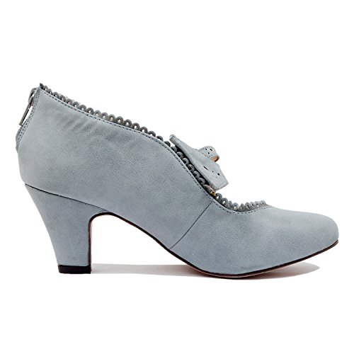 Guilty Shoes - Womens Classic Retro Two Tone Embroidery - Wing Tip Lace Up Kitten Heel Oxford Pumps (10 B(M) US, Greyv2 Pu) by Guilty Shoes (Image #3)