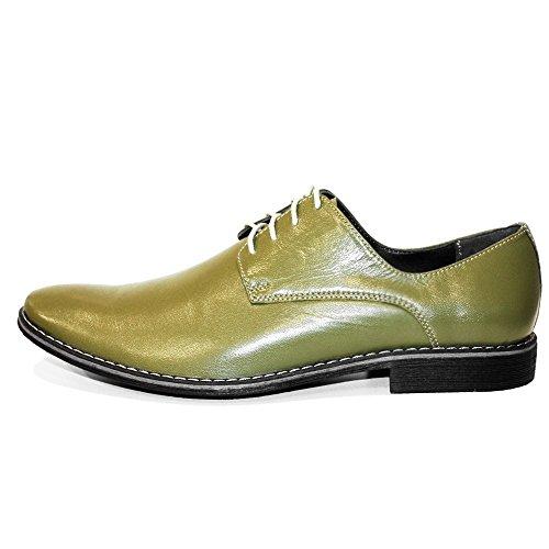 PeppeShoes Modello Mailo - Handmade Italiano da Uomo in Pelle Verde Scarpe da Sera - Vacchetta Pelle Morbido - Allacciare
