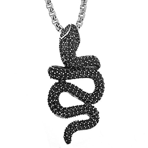 LANHI Men's Stainless Steel Fully Paved CZ Viper Snake Pendant Charm Necklace with Chain 26