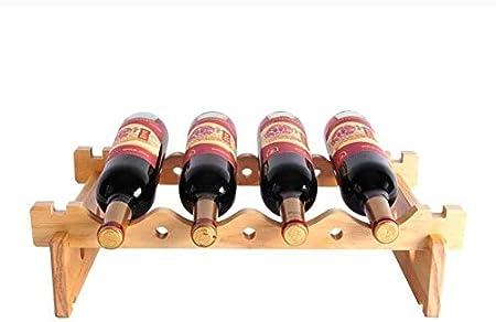 HJXSXHZ366 Estantería de Vino 4 Botellas de Madera Apilados encimeras Estante del Vino Estante de la Botella, Estante de Almacenamiento, o de Cocina, Estante de Vino pequeño (Color : Woodcolor)