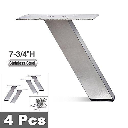 Angled Sofa (Stainless Steel Metal Sofa Legs, Furniture Legs, Angled Design, Rectangular Tube,, 7-3/4