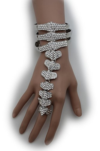 Punk Rock Costumes Party City (TFJ Women Fashion Jewelry Hand Chain Metal Bracelet Slave Rings Back Bones Spine Silver)
