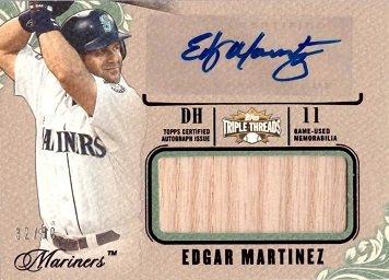 Martinez Autographed Baseball Bat (2014 Topps Triple Threads Unity Jumbo Relics Emerald #UAJR-EM Edgar Martinez Certified Autograph Bat Baseball Card – Only 50 made!)
