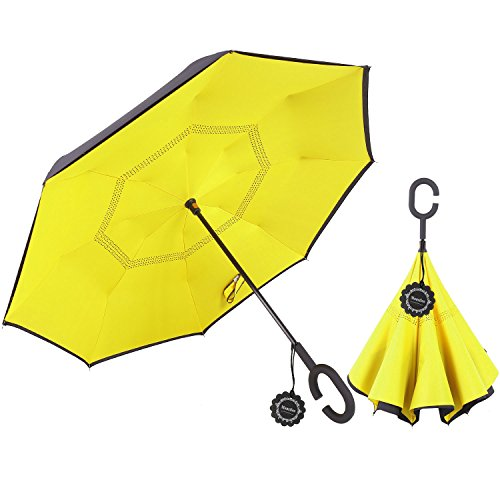 Monstleo Inverted Umbrella Double Layer Cars Reversible Umbrella,Windproof UV Protection Big Straight Umbrella for Car Rain Outdoor With C-Shaped Handle and Carrying Bag (Yellow) from Monstleo