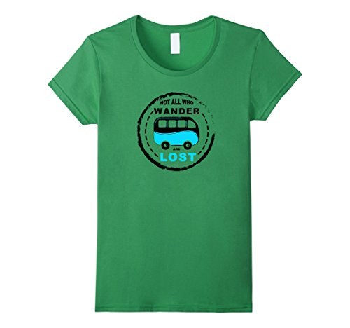 Womens Campervan T Shirt Not All Who Wander Are Lost XL Grass