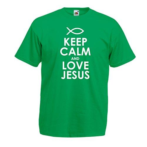 lepni.me Men's T-Shirt Love Jesus Christ, Christian Religion - Easter, Resurrection, Nativity, Religious Gift Ideas (XXX-Large Green White) -