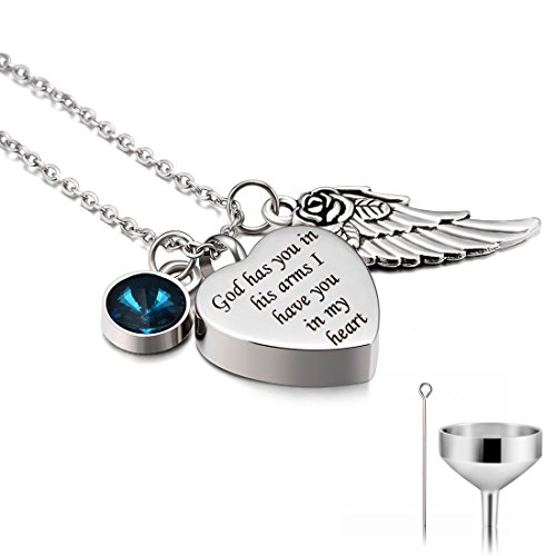 CAT EYE JEWELS Stainless Steel Cremation Keepsake Memorial Urn Necklace with Funnel Kit N012