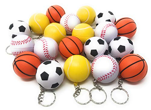 20 Bulk Multi Sports Ball Keychain Stress Ball Assortment - Includes Soccer, Basketball, Baseball, and - Sports Keychain