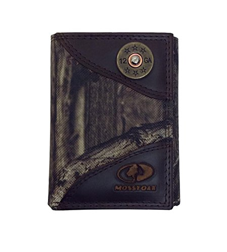 Zeppelin Mossy Oak Nylon Camo Trifold Wallet With Leather Trim And Sho