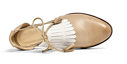 62b187dbaf7446 ... Honeystore Glands Femmes Fringues En Cuir À Lacets Appartements  Chaussures Abricot ...