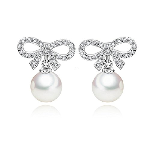 Pearl Knot Earrings - AFSSHOPPING Fashion Crystal Bow-knot Pearl Stud Earrings For Lady Women Girls With Gift Box