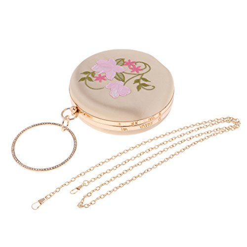 Bag Wedding Floral Clutch Handbag Bag embroidery Evening Prettyia Clutch Gold Womens Party Round FPaXq