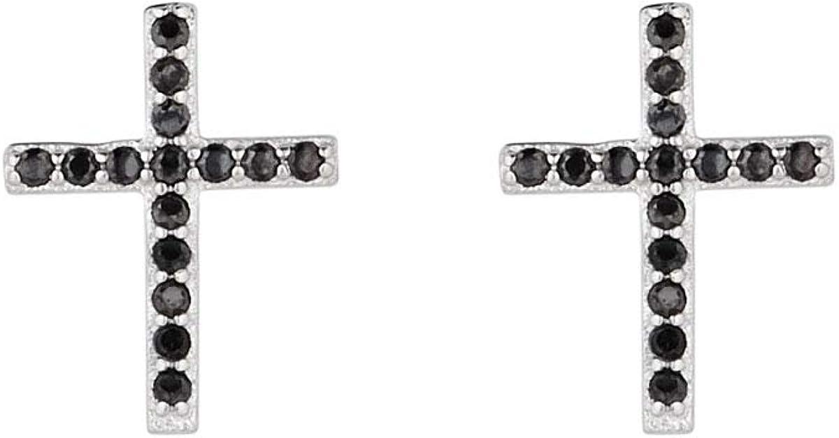 Córdoba Jewels | Pendientes en plata de ley 925 bañada en rodio. Diseño Cruz circonita onix
