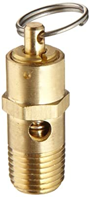 "Kingston KSV10 Series Brass ASME-Code Low Profile Safety Valve, 125 psi Set Pressure, 1/4"" NPT Male from Kingston Valves"
