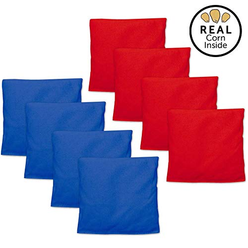 Corn Filled Cornhole Bags - Set of 8 Bean Bags for Corn Hole Game - Regulation Size & Weight - Red and Blue