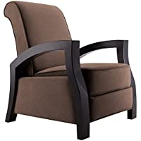 Artiva USA KUTA Solid Wood Java Black Premium Chocolate Microvelvet Recliner, Chocolate