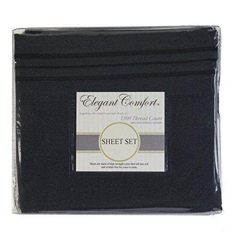 ELEGANT COMFORT Best, Softest, Coziest Bed Sheets Ever! Sale Today Only 1800 SERIES Brushed Luxury Wrinkle Resistant Bedding Sheets - Deep Pocket with Soft Silky Touch All with 100% , FULL , Black