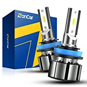 #LightningDeal ZonCar H11 H8 H9 LED Headlight Bulbs, Low Beam/Fog Light Halogen Replacement, 2 Pcs/Kit, 12 CSP Chips, 10000LM 6500K White Extremely Bright Light 12V