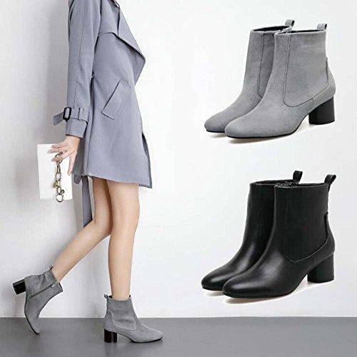 5cm Vestido Simple Zapatos Corto Bootie Corte Toe 34 Botas Pura Color Mujer 40 Heel Ankle Boots Eu Tamaño Gray Redonda Zipper Seude Chunkly TarwT