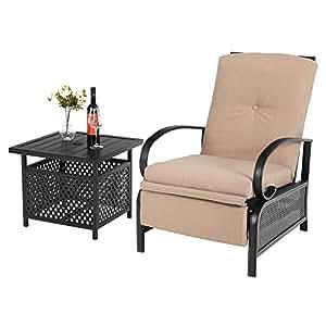 Amazon.com: PHI VILLA - Silla y mesa reclinable: Jardín y ...