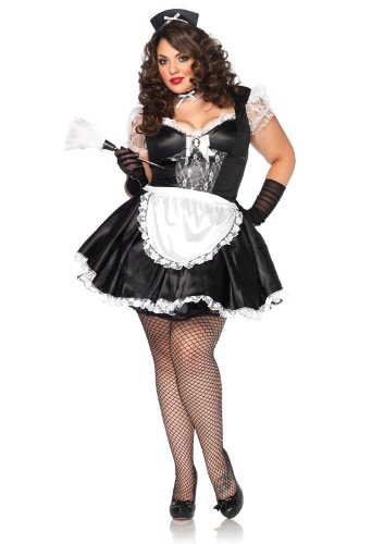 Leg Avenue Women's Plus-Size Manor Maid Costume, Black/White, 1X-2X -