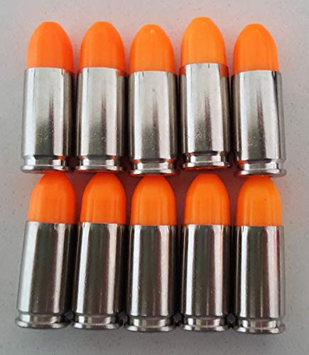 S.T. Action Pro Inert Safety Trainer Cartridge Dummy Ammunition Ammo Shell Rounds with Nickel Case - Pack of 10 (Orange, 9mm)