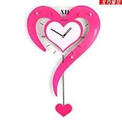 TNKML Large Indoor Decorative Wall Clock Swing Country Mute Classic Living Room Kitchen Heart Shaped Watch Table Garden Bedroom Creative Clock 3452CM, Rose Red