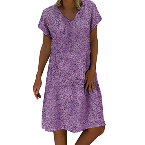 (Sunhusing Women V-Neck Small Floral Print Short-Sleeve Dress Casual New Beach Wind Bohemian Dress Purple)