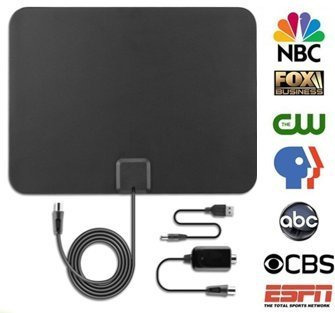 - Electronic Outlook TV Antenna, Amplified HDTV Antenna 50+ Mile Range with Amplifier, USB Power Supply Signal Booster, 13ft High Performance Coax Cable, Free Hulu Trial