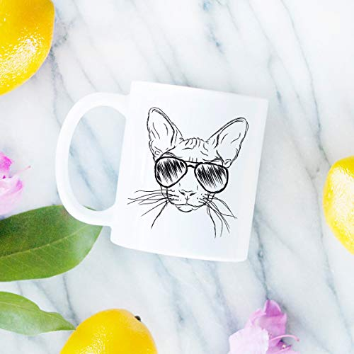 (Sammy the Sphinx Cat Mug Gifts For Cat Owner Sphinx Cat Lover Cat Art Hairless Cat gift Funny Cat Gift)