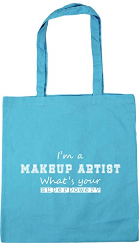 HippoWarehouse I'm a Makeup Artist What's Your Superpower? Tote Shopping Gym Beach Bag 42cm x38cm, 10 litres Surf Blue