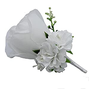 WeddingBobDIY Boutonniere Buttonholes Groom Groomsman Best Man Rose Wedding Flowers Accessories Prom Suit Decoration White 9