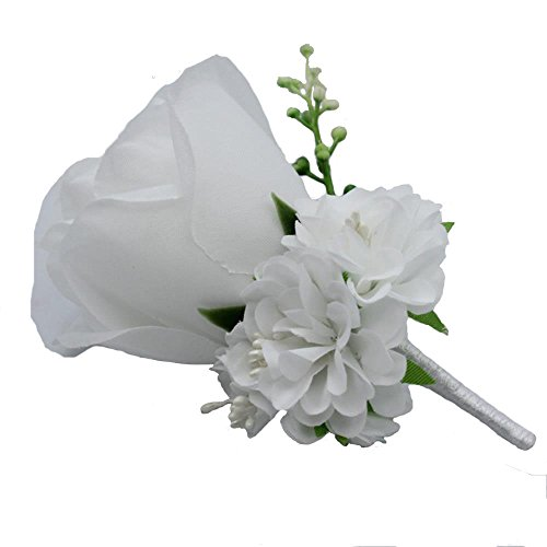 Mens Boutonniere - WeddingBobDIY Boutonniere Buttonholes Groom Groomsman Best Man Rose Wedding Flowers Accessories Prom Suit Decoration White