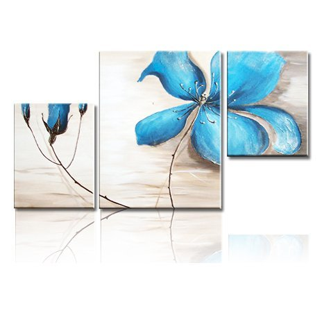 Anna's Studio Hand Painted Blue Plum Flowers 3 Piece Abstract Oil Paintings On Canvas Wall Art Ready To Hang for Wall Decorations Home Decor Paintings For Living Room.