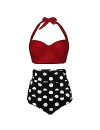 Telaura Womens Two Piece Bathing Suits High Waisted Bikini Sets Retro Polka Dot Swimwear