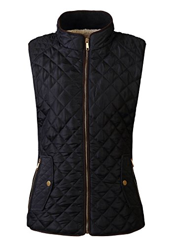 FANHANG WOMEN'S LIGHTWEIGHT QUILTED PADDING ZIP UP GILET VEST JACKET WITH TWO SIDE POCKET AND SHERPA LINING AND NICE SIDE RIB (SMALL, BLACK)