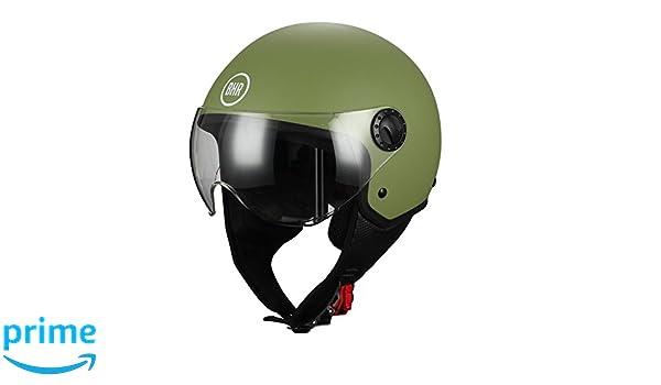 M verde mate 57//58/cm BHR 33450/Casco Demi-Jet